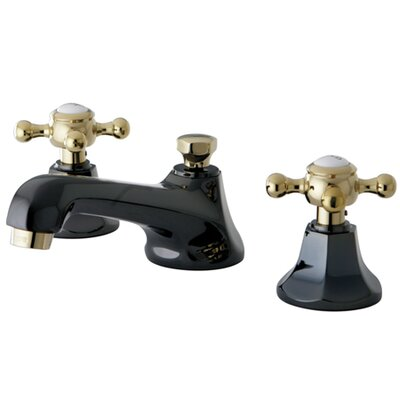 Water Onyx Double Handle Widespread Bathroom Faucet with Brass Pop-Up Drain Finish: Black Nickel/Polished Brass