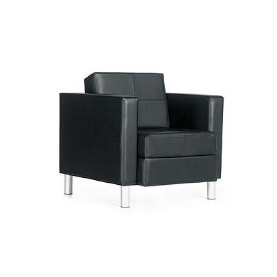 Global Total Office Citi Lounge Chair - Leg Finish: Black Fabric: Leather - Rouge