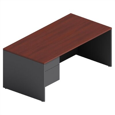 Adaptabilities Shell Executive Desk Laminate: Avant Cherry/Storm Grey, Drawers: Left Product Picture 3407