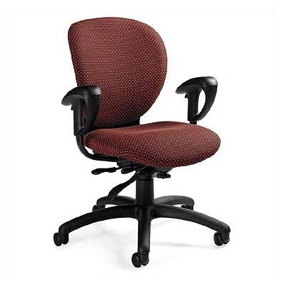 Global Total Office Low-Back Multi-Tilter Office Chair with Arms - Fabric: Mock Leather Chaps, Arms: Not Included, Tilt: Posture Tilt