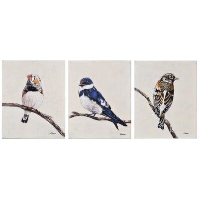 "Feathered Friends"" 3 Piece Painting Print on Canvas Set 121257"