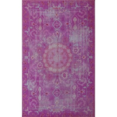 Hand-Knotted Pink Area Rug Rug Size: 52 x 72