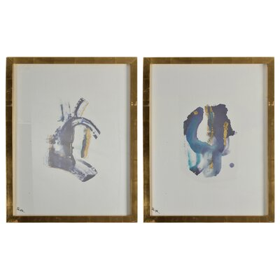 'Fontaine' 2 Piece Framed Graphic Art Print Set on Paper
