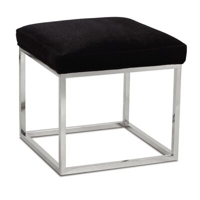 Percy Ottoman Finish: Chrome, Upholstery: Crosshatch Chenille Pewter
