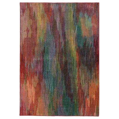 Prismatic Abstract Red Area Rug Rug Size: 53 x 76