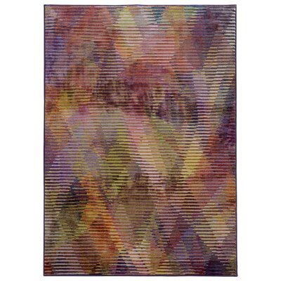 Prismatic Abstract Purple & Gold Area Rug Rug Size: Rectangle 53 x 76