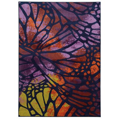 Prismatic Abstract Purple/Orange Area Rug Rug Size: 53 x 76