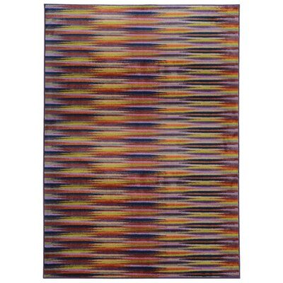 Prismatic Abstract Gold & Orange Area Rug Rug Size: 5'3