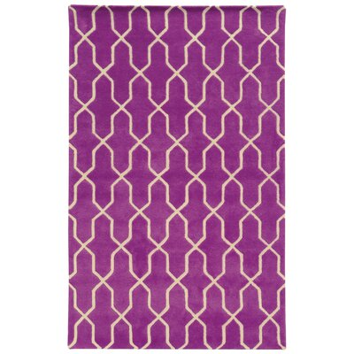 Optic Geometric Purple & Ivory Area Rug Rug Size: Rectangle 36 x 56