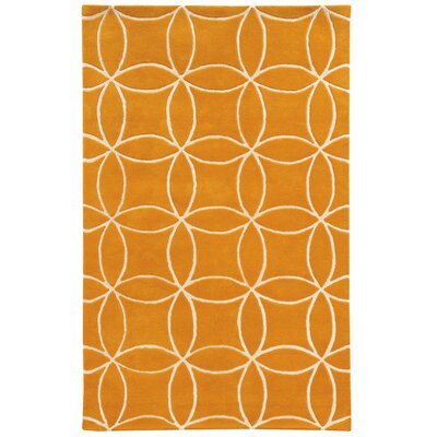 Optic Geometric Hand-Tufted Yellow/Ivory Area Rug Rug Size: Rectangle 36 x 56