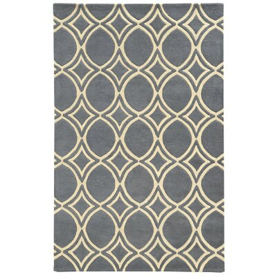 Optic Charcoal/Ivory Geometric Area Rug Rug Size: 36 x 56