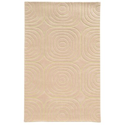 Optic Geometric Pink & Ivory Area Rug Rug Size: 36 x 56