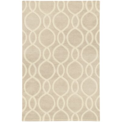 Optic Geometric Beige & Ivory Area Rug Rug Size: 36 x 56