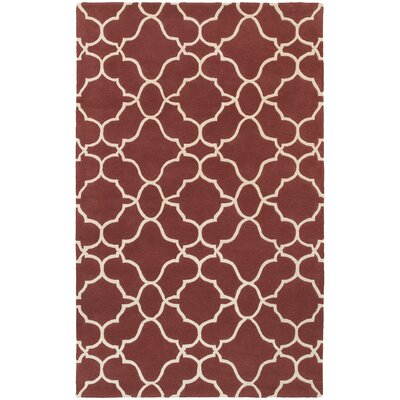 Optic Geometric Rust & Ivory Area Rug Rug Size: 36 x 56