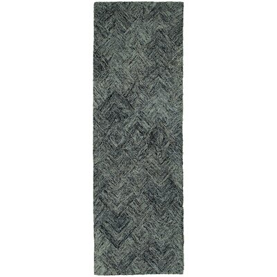 Colorscape Geometric Charcoal & Blue Area Rug Rug Size: Runner 26 x 8