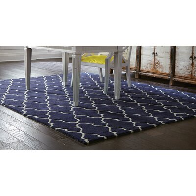 Optic Navy/Ivory Geometric Area Rug Rug Size: Runner 26 x 8