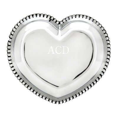 Engravable Beaded Heart Serving Tray