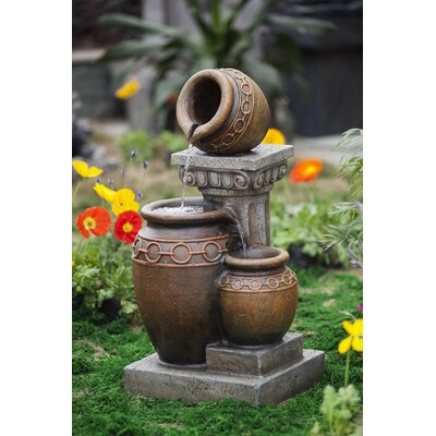 jeco Classic Polyresin and Fiberglass 3-Pot and Column Water Fountain