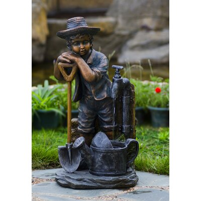 jeco Polyresin and Fiberglass Boy with Bib Tap Water Fountain