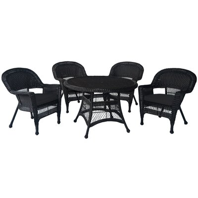 5 Piece Dining Set Finish: Honey, Cushion Color: Black