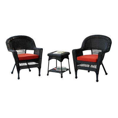 jeco Julie 3 Piece Lounge Seating Group with Cushions - Finish: Black, Fabric: Red Orange at Sears.com