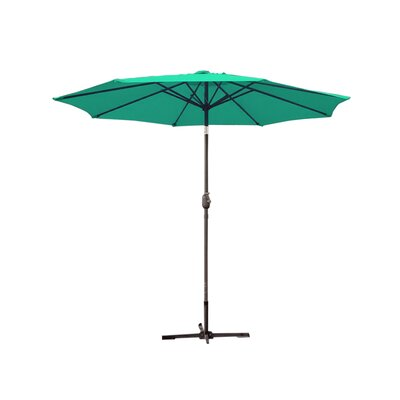 9ft Market Umbrella Frame Finish: Grey, Fabric: Green