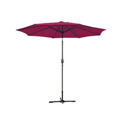 9ft Market Umbrella Fabric: Burgundy, Frame Finish: Grey