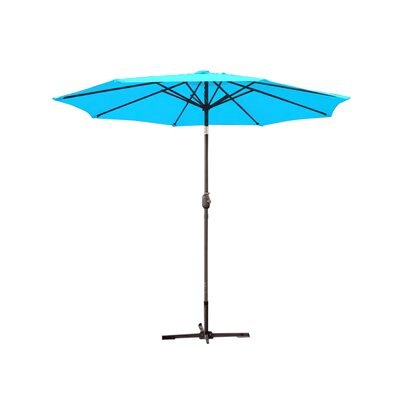 9ft Market Umbrella Fabric: Turquoise, Frame Finish: Grey