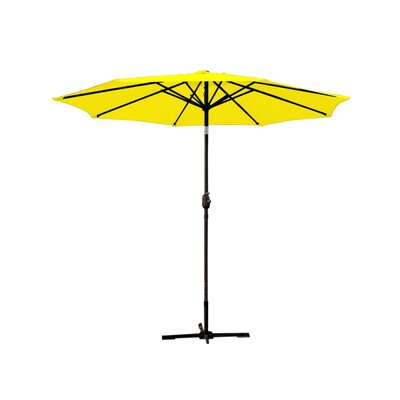 9ft Market Umbrella Fabric: Red, Frame Finish: Champagne