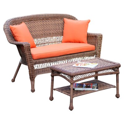 2 Piece Seating Group with Cushion Fabric: Orange, Finish: Honey