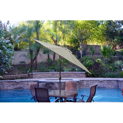 9ft Market Umbrella Fabric: Tan, Frame Finish: Champagne