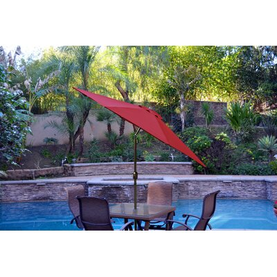 9' Market Umbrella Fabric: Burgundy, Frame Finish: Champagne UBP93-UBF95