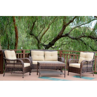 Cromwell 4 Piece Seating Group with Cushion Color: Tan