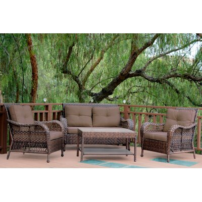 Cromwell 4 Piece Seating Group with Cushion Color: Brown