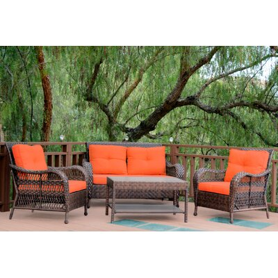 Cromwell 4 Piece Seating Group with Cushion Color: Orange