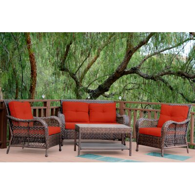 Cromwell 4 Piece Seating Group with Cushion Color: Red