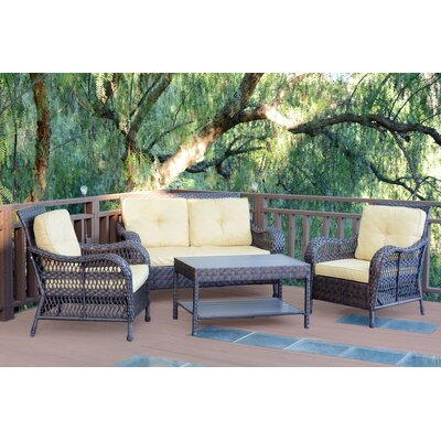 Cromwell 4 Piece Seating Group with Cushion Color: Yellow