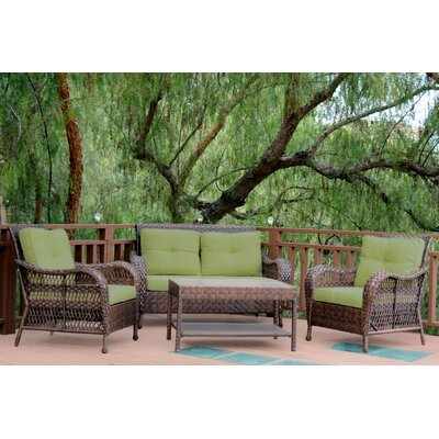 Cromwell 4 Piece Seating Group with Cushion Color: Green