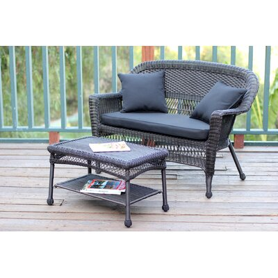 2 Piece Seating Group with Cushion Finish: Espresso, Fabric: Black