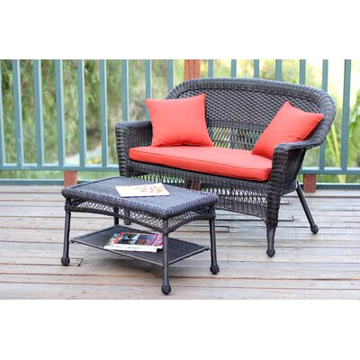 2 Piece Seating Group with Cushion Finish: Espresso, Fabric: Red Orange