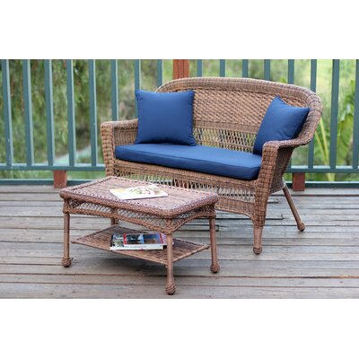 2 Piece Seating Group with Cushion Fabric: Blue, Finish: Honey