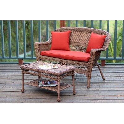 2 Piece Seating Group with Cushion Fabric: Red Orange, Finish: Honey