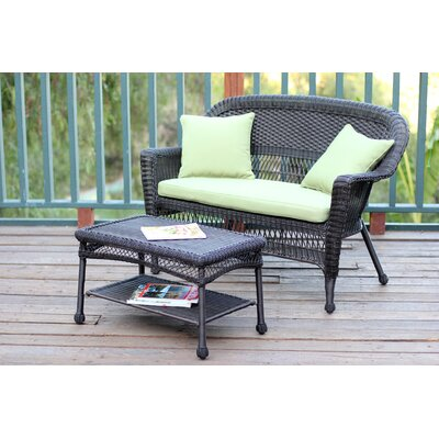 2 Piece Seating Group with Cushion Finish: Espresso, Fabric: Green