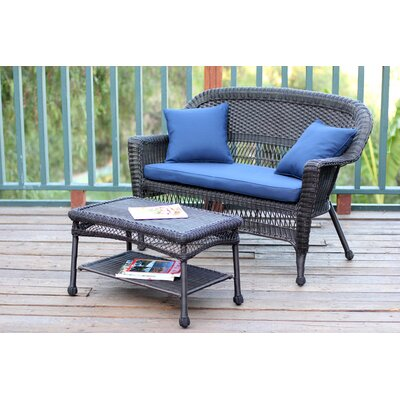 2 Piece Seating Group with Cushion Finish: Espresso, Fabric: Blue