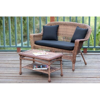 2 Piece Seating Group with Cushion Fabric: Black, Finish: Honey