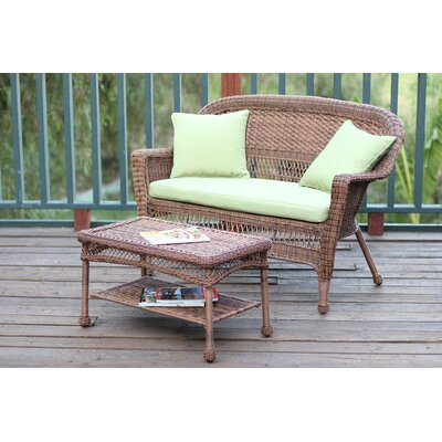 2 Piece Seating Group with Cushion Fabric: Green, Finish: Honey