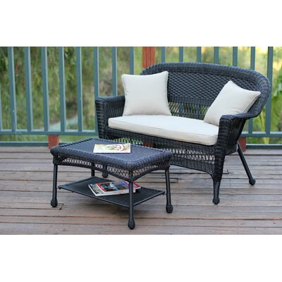 2 Piece Seating Group with Cushion Fabric: Tan, Finish: Black