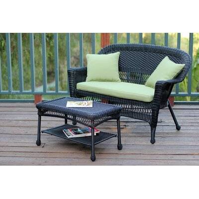 2 Piece Seating Group with Cushion Fabric: Green, Finish: Black