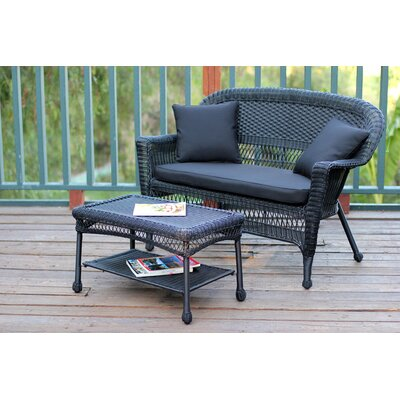 2 Piece Seating Group with Cushion Fabric: Black, Finish: Black