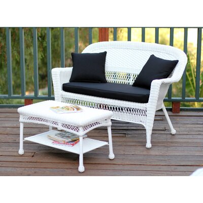 2 Piece Seating Group with Cushion Fabric: Tan, Finish: White